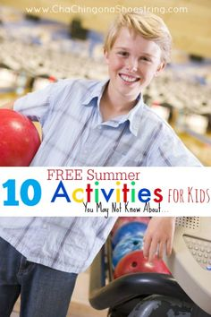 10 FREE Summer Activities for Kids (You May Not Know About) - from bowling to skating to camps and more! Find out what's FREE in your area and add it to your summer calendar.