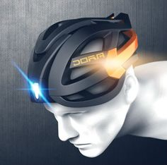 DORA bike helmet with embedded turn signal lights that activate with bluetooth handlebar controls. Cycling Helmet, Bicycle Helmet, Pimp Your Bike, Velo Design, Montain Bike, Safety Helmet, Buy Bike, Bicycle Maintenance, Cycling Equipment