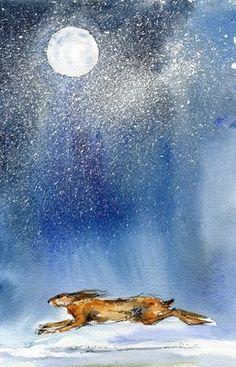 Running rabbit in the moonlight (or hare) Bunny Art, Bunny Bunny, Rabbit Art, Moon Art, Painting & Drawing, Illustration Art, Animal Illustrations, Fantasy Art, Creatures