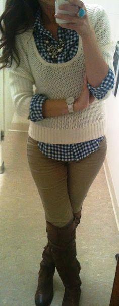 Cute gingham under the cream sweater.