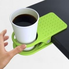 Clip your coffee cup to the edge of your desk to save space. - https://www.facebook.com/different.solutions.page