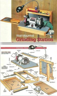Wall-Mounted Grinder Sharpening Station Plans - Sharpening Tips, Jigs and Techniques Woodworking Workshop, Woodworking Furniture, Woodworking Shop, Woodworking Crafts, Woodworking Plans, Cardboard Furniture, Kid Furniture, Furniture Design, Woodworking Ideas For Girlfriend