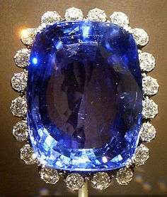 Corundum var. Sapphire (423 carats, Sri Lanka)  Donated by Mrs. John A. Logan in 1960.    The magnificent 423-carat Logan Sapphire was cut from a crystal mined in Sri Lanka and is one of the world's largest faceted blue sapphires (it is about the size of an egg).  Smithsonian Collection