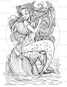 Siren& Song Adult Coloring Page Mermaid Coloring Pages, Coloring Book Pages, Dragon Coloring Page, Printable Adult Coloring Pages, Mermaid Art, Sketches, Drawings, Artwork, Mermaids