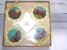 Vintage Handmade Lucite Coasters Windsor Ont Canada Mint In Box