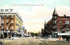 Green Bay Wisconsin WI 1908 Town West Main Street East Antique Vintage Postcard