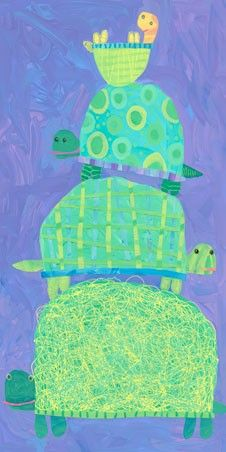 textured paper collage - Yertle the Turtle? 1st or 2nd Grade