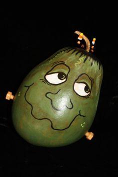 Halloween Frankenstein Gourd Hand Painted by GeralynChouinard, $35.00
