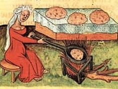 The pre-modern origins of pizza during the antiquity, Middle Ages, and Renaissance are shrouded in mystery. This is possibly a Renaissance baker, baking her products in a pan held over open fire. The ancient pizzas were possibly baked in this manner. (The origin of this image is unknown.)