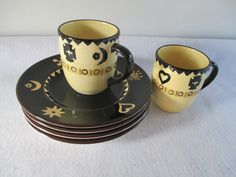 Serengeti Dessert Plates Cups Vintage Black Cream by HobbitHouse