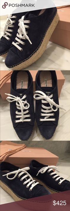 Miu Miu Espadrille Wedges Navy Suede 38/ US 8 Guaranteed Authentic. Originally $595. Women's Miu Miu Espadrille wedge sneakers in size 38/ US 8 in Blue Suede from Spring/Summer 2016 collection. Super comfortable. Only worn once-they are in excellent condition. Includes original box and 2 travel bags. Contact for more photos or if you want to see it on me. Miu Miu Shoes Espadrilles