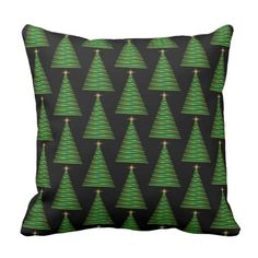 Red and Green Ribbon Christmas Trees Throw Pillow