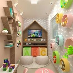 30 Creative Playroom Design for Your Kids Playroom Ideas creative Design Kids Playroom Modern Kids Bedroom, Kids Bedroom Designs, Playroom Design, Kids Room Design, Playroom Decor, Playroom Ideas, Under Stairs Playroom, Under Stairs Playhouse, Closet Playhouse