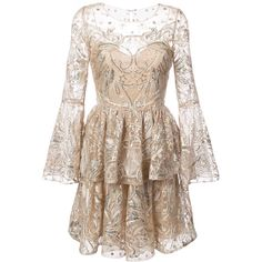 Marchesa Notte sequin embroidered tulle dress ($1,240) ❤ liked on Polyvore featuring dresses, champagne short dresses, yellow dress, champagne dress, short flared dresses and short flare dress