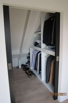 Closet Storage Under Sloping Roof. If you are converting your attic into a living space, include some closet space in your design. Create your attic closet following the layout of the attic space.