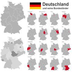 Aufstellung der deutschen Bundesländer mit ihren Hauptstädten.Die Bundesrepublik Deutschland hat 16 Bundesländer. 9 Länder grenzen an Deutschland.