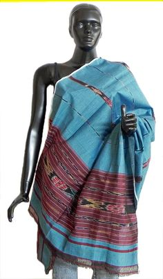 Cyan Blue with Maroon Stole with All-Over Ikkat Design (Silk Cotton)