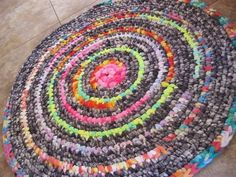 New Ready To Ship Handmade Recycled Colorful Crochet Rug / Rag Rug / Carpet in grays , tie -dyes for the bathroom , nursery, kitchen , entry Will And Grace, Recycled Fabric, Floor Rugs, Dyes, Colorful Rugs, Rugs On Carpet, Recycling, Tie Dye, Nursery