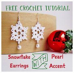 Free Crochet Pattern: Crochet Snowflake Earrings with Pearl Accent Tutorial