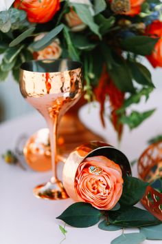 rose gold and peach wedding colors - photo by Sarah Libby Photography http://ruffledblog.com/bold-copper-bridal-inspiration-with-a-dripping-cake
