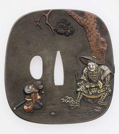 Tsuba with design of Momotaro and animal soldiers. Edo period–Meiji era mid to late 19th century - Hata Nobuyoshi (Japanese, 1807–1878), Nara School http://www.mfa.org/collections/object/tsuba-with-design-of-momotaro-and-animal-soldiers-18925