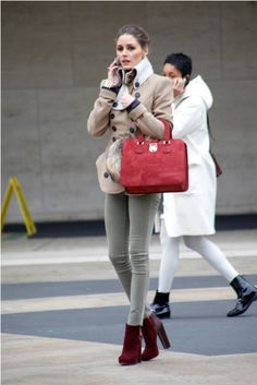 Red bag. Shoes. Coat. Love.