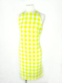 Yellow Gingham Print Shift Dress