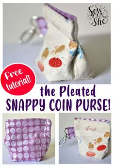 This pleated snappy coin purse is easy to sew. You can make one in just ten minutes. To make the pleat, all you have to do is to trim the seam on the opposite side of the opening, insert tape measure pieces, and then sew from the top of the pouch down to the second line of stitching. You'll notice a little coffee-cup shape when you finish. See this free sewing tutorial to learn more. #coinpurse #purse #snappycoinpurse #pleatedpurse #easysewing #fastsewing #freesewingtutorial Cute Sewing Projects, Yarn Projects, Sewing Projects For Beginners, Sewing Tutorials, Sewing Crafts, Purse Patterns, Sewing Patterns Free, Free Sewing, Retreat Gifts