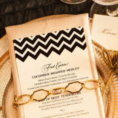 black and gold wedding invitation inspired by a gorgeous chevron print! Christopher TODD Studios.