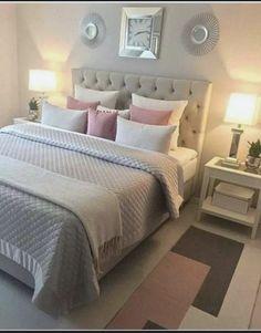 cozy home decorating ideas for girls' bedroom 00020 Pink Bedrooms, Gray Bedroom, Trendy Bedroom, Bedroom Colors, Modern Bedroom, Bedroom Simple, Grey Bedding, Bedroom Bed, Minimalist Bedroom