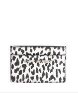 Saint Laurent black and white leopard print leather card holder