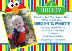 Send out a bright and cheery invite for your little one's upcoming birthday party with these Elmo Sesame Street Invites!    A digital fiile will be emailed in either a 4 x 6 or 5 x 7 size and the file will be ready for you to print at home on cardstock or at your favorite local photo printing s...