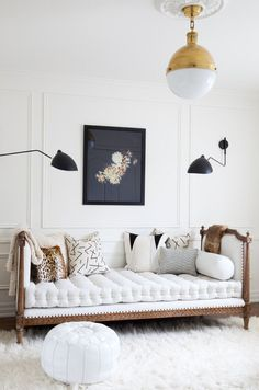 white, gold, black with a hint of modern
