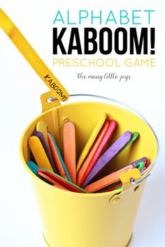 This Kaboom! preschool alphabet game is so simple costs almost nothing to mak - Wordpress Ecommerce Theme - This Kaboom! preschool alphabet game is so simple costs almost nothing to make and it can be adapted to learn practically anything. Preschool Letters, Preschool Classroom, Preschool Activities, Alphabet Games For Preschoolers, Preschool Learning Games, Alphabet Games For Kindergarten, Preschool Transitions, Preschool Journals, Preschool Phonics