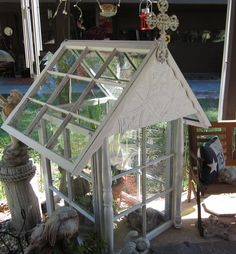 I always keep old windows around. So I made a greenhouse for my plants Old Windows, Yard Art, Gardening, Pictures, Plants, Ideas, Antique Windows, Photos, Lawn And Garden