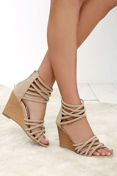 Pure Instinct Nude Suede Caged Wedges - Soft vegan suede shapes crisscrossing straps along the toe and ankle, creating a cool caged upper at Lulus.com!