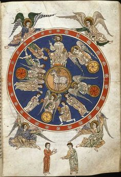 Apocalypse, Vision Of The Lamb And The Four Living Creatures. Beatus codex Manchester, The Commentary on the Book of Revelation was written by Beatus, Asturian monk, in the year 776.