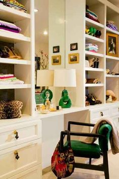 If you're lucky enough to have a walk-in closet and are putting in a shelving system, try making a pretty vanity in it. | 15 Wonderful Ways To Improve Your Closet
