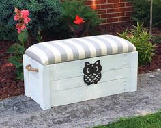 Hope chest- Toy box - White distressed paint - Entryway bench - Storage bench - Storage Chest - The Painted Pioneer Toy Storage Boxes, Craft Storage, Storage Chest, Blanket Storage, Blanket Box, Entryway Bench Storage, Bench With Storage, Wooden Toy Boxes, Wood Boxes