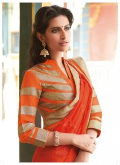 Orange chiffon saree with gold border and chinese colloared quarter sleev blouse