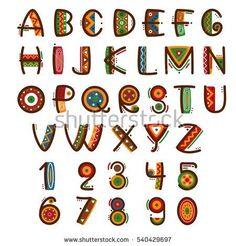 African ethnic primitive font. Hand drawn brightly safari vector alphabet. Letters abc type set illustration