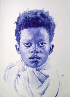 Collection of the Photorealistic Portraits Created With Simple Ball Point Pens by African Artist Enam Bosokah. Find more illustrations and artwork at grtjournal Biro Art, Ink Pen Art, Ballpoint Pen Drawing, Pen Illustration, Illustrations, African Artists, Black And White Drawing, Black Art, Ink Drawings