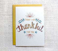Thankful for You Hand Lettered Thanksgiving Greeting Card A7