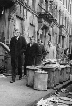 Mayor Richard Lindsay, touring Harlem site during February 1968 trash strike.  #Vintage #DoYouRemember #1960s