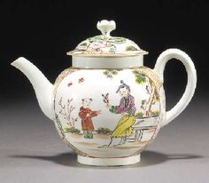 1775 A Worcester globular teapot and cover  with flowerhead finial, painted in colours with two Oriental figures, one seated offering a flower to the standing figure, the reverse with two standing figures, one holding a fishing rod, before a garden, within roundels, reserved on a ground gilt with scrolls, flanked by two further cartouches painted in puce with huts on islands, circa 1775 (a crack to the handle and the cover with a small chip to the rim) -- 14cm. high Christies lot113
