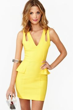 Dresses under $100 - yellow peplum dress