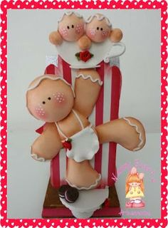 Hermosas galletas de jengibre de pasta francesa. Christmas Clay, Diy Christmas Gifts, Winter Christmas, Christmas Ornaments, Merry Christmas, Polymer Clay Projects, Clay Crafts, Gingerbread Man Crafts, Clay Figurine