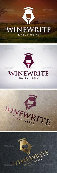 Wine Writer Logo Template  #GraphicRiver         - Three color version: color…