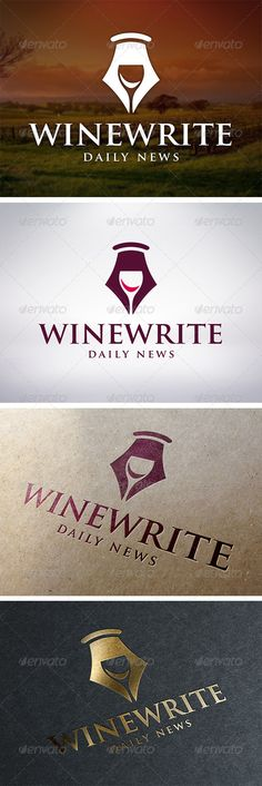 Wine Writer Logo Template  #GraphicRiver         - Three color version: color, greyscale and single color.