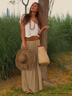 Comfortable #island #gypsy style maxi, hat and bag